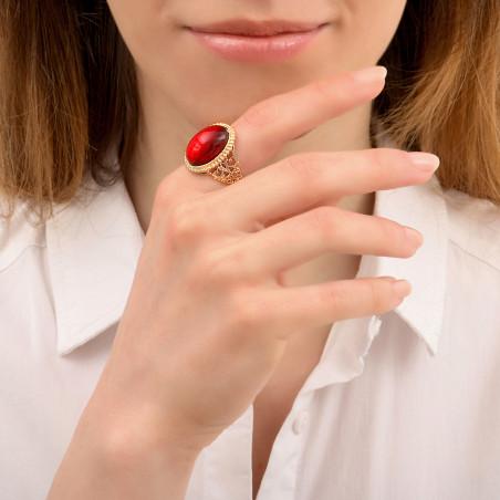 Bague ajustable glamour cabochon et métal doré à l'or fin I rouge86066