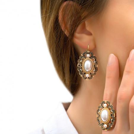Bague ajustable élégante cristaux Prestige et cabochon nacré I blanc 86072