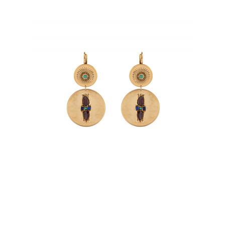 Boucles d'oreilles dormeuses ethniques cristaux et turquoise | Multicolore