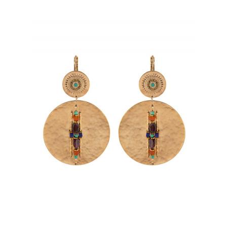 Boucles d'oreilles dormeuses originales cristaux et turquoise | Multicolore
