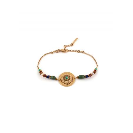 Bracelet ethnique cristaux et turquoise   Multicolore