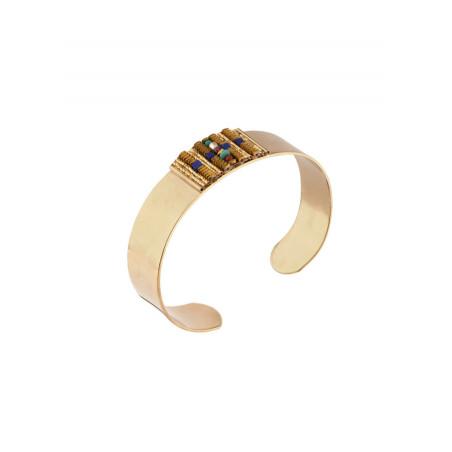 Bracelet jonc tendance turquoise et grenat | Multicolore