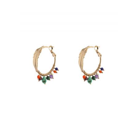 Boucles d'oreilles créoles ethniques turquoise et grenat | multicolore